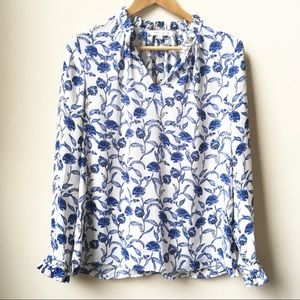 3/$18 Rose + Olive floral ruffle blouse
